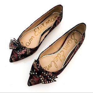 Sam Edelman Raisa Jacquard Studded Bow  Toe Flats